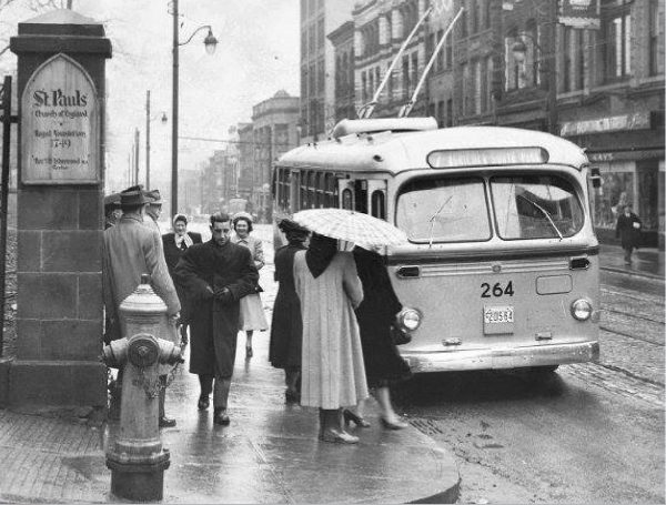 Catching the trolley at Barrington and Prince Street, 'Route 7' Agricola & South Park, date unknown, posted on Facebook group OLD Black and White Pictures of Halifax, Nova Scotia.
