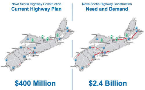 "Comparing the NS government's current highway spending plan with the perceived ""need and demand"" for highway twinning. Part of the provincial presentation at the release of the highway twinning feasibility study."