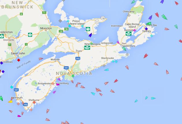 The seas around Nova Scotia, 9:15am Wednesday. Map: marinetraffic.com