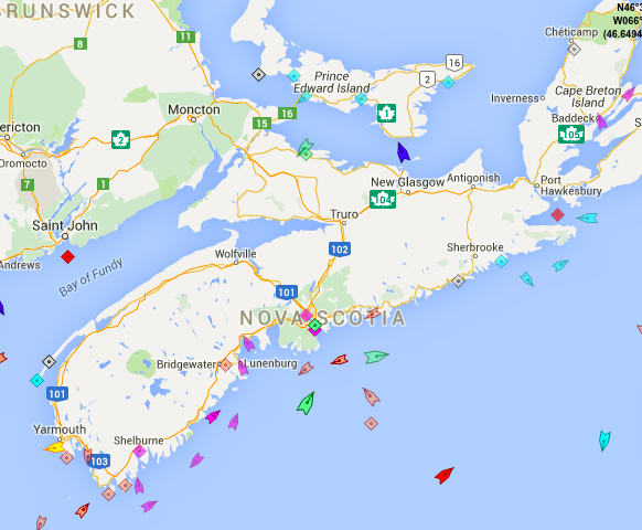 The seas around Nova Scotia, 8:50am Thursday. Map: marinetraffic.com