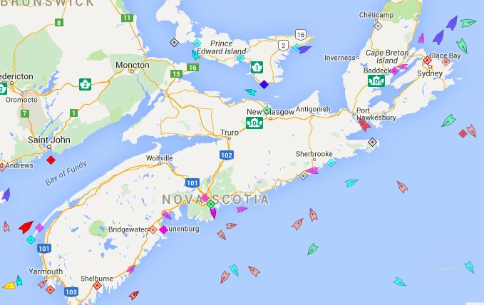 The seas around Nova Scotia, 9:15am Friday. Map: marinetraffic.com