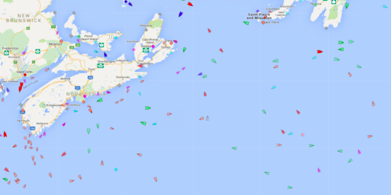 Ships in the North Atlantic, 9am Tuesday. Map: marinetraffic.com