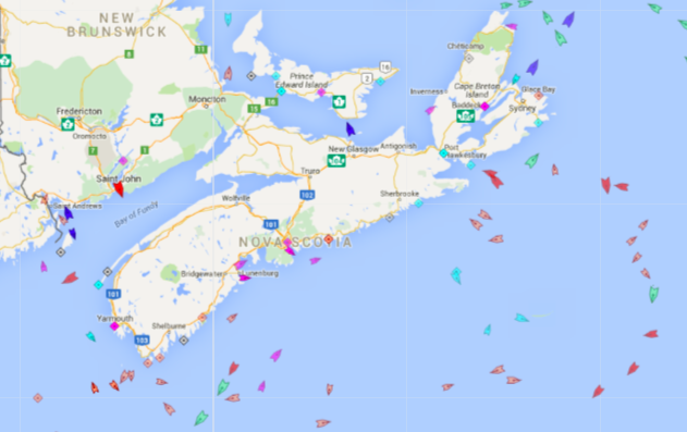 The seas around Nova Scotia, 8:45am Friday. Map: marinetraffic.com