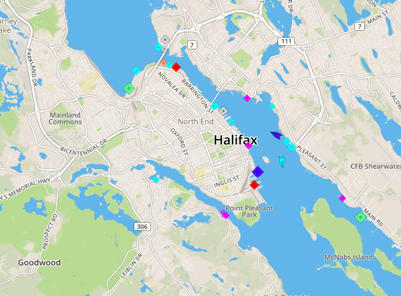Halifax Harbour, 9am Monday. Map: marinetraffic.com