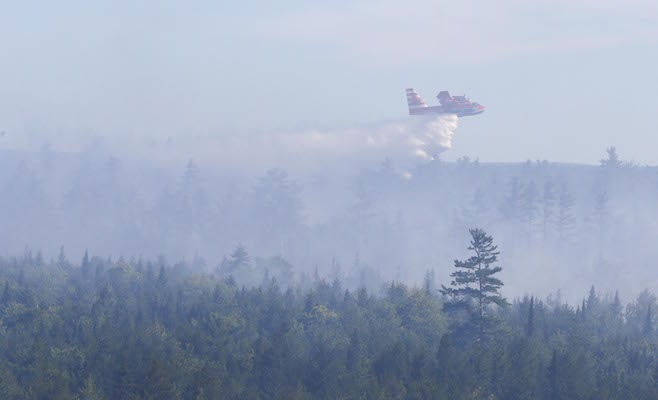 A water bomber at the Seven Mile Lake fire in Annapolis County. Photo: Communications Nova Scotia