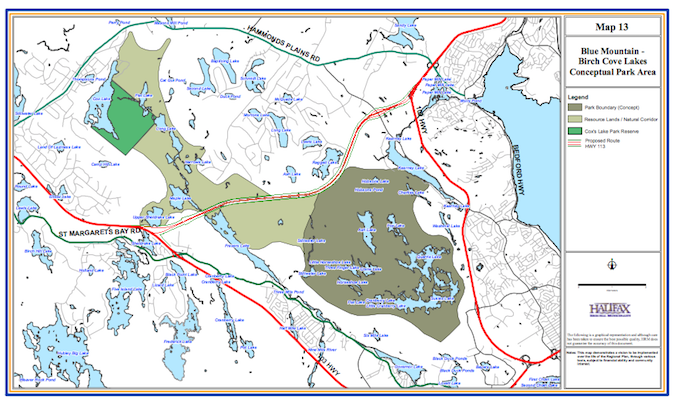 This map of the proposed Blue Mountain – Birch Cove Lakes Wilderness Park is in the city's 2006 regional plan.
