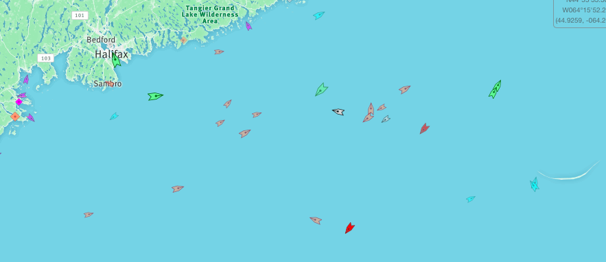 Halifax to Sable Island, 8:45am Thursday. Map: marinetraffic.com
