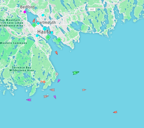 The approach to Halifax Harbour, 9:20am Wednesday. Map: marinetraffic.com