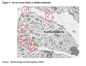 A map showing the limited access points to the Halifax Peninsula, making it a natural candidate for cordon tolling, from The Feasibility of Implementing a Congestion Charge on the Halifax Peninsula, 2011
