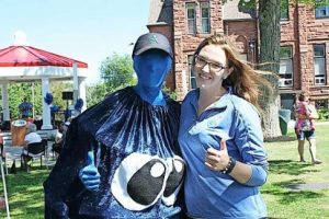 A pair of berry-lovers blue themselves for Amherst's annual Blueberry Fest.