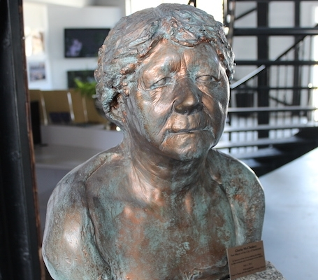 The bust of Gloria McCluskey is displayed in the sales office at the King's Wharf development. Photo: Halifax Examiner