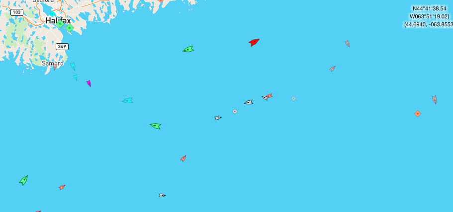 The sea off Halifax, 8:45am Tuesday. Map: marinetraffic.com