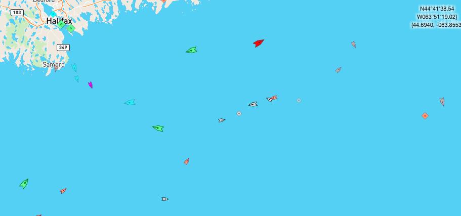 The sea off Halifax, 8:45am Tuesday. Map: marinetraffic.com