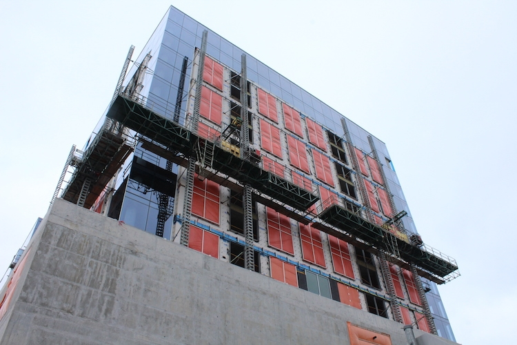 Construction of the hotel above the convention centre is nowhere near completion, and an operator of the hotel has not been announced. Photo: Halifax Examiner