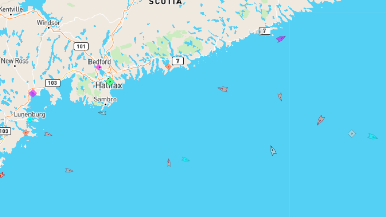 The sea around Nova Scotia, 9:15am Thursday. Map: marinetraffic.com