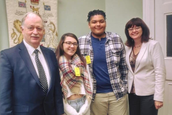 On October, students Kenzi Donnelly (2nd from left) and Che Morales (3rd from left) went to the legislature and met with MLAs Keith Colwell (left) and Joyce Treen (right). Photo: Students for Teachers Facebook page