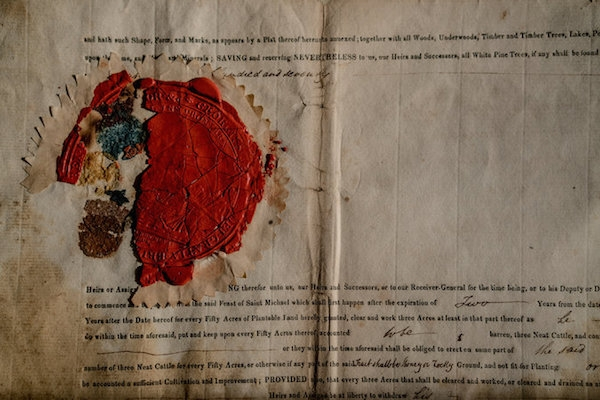 An 1818 land grant from Britain's King George III. Photo: Credit Andrew Testa for The New York Times