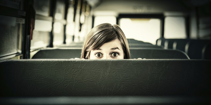 Scared Student in School bus