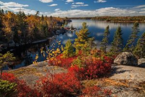 Fall view of a lake in the wilderness