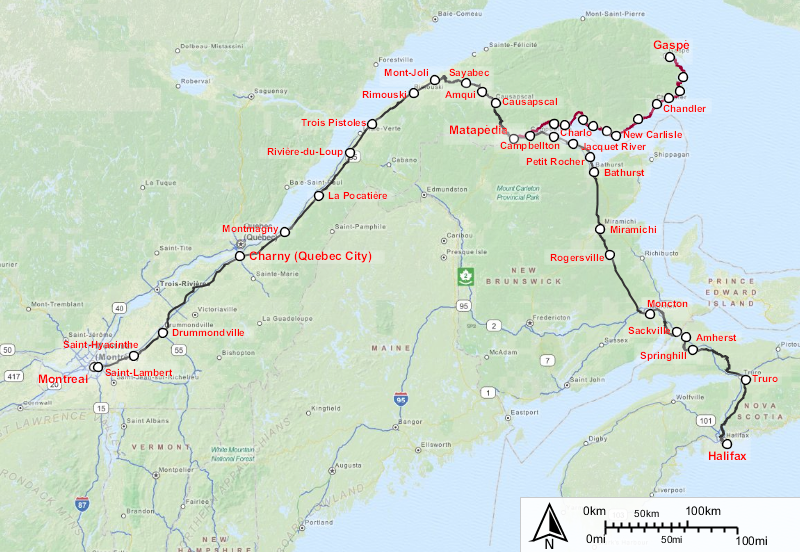 Map showing the route of Via Rail's The Ocean train, from Halifax to Montreal.
