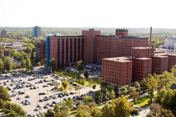 Massive brick hospital building complex. The Victoria General hospital site.