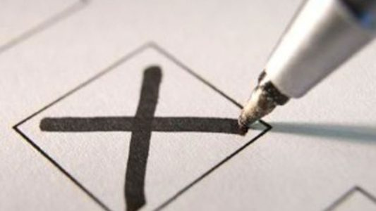 Pen marking an X in a ballot