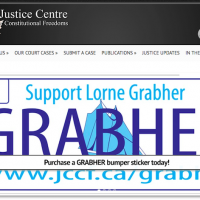 Who is the Justice Centre for Constitutional Freedoms and why do they care about Lorne Grabher's licence plate?