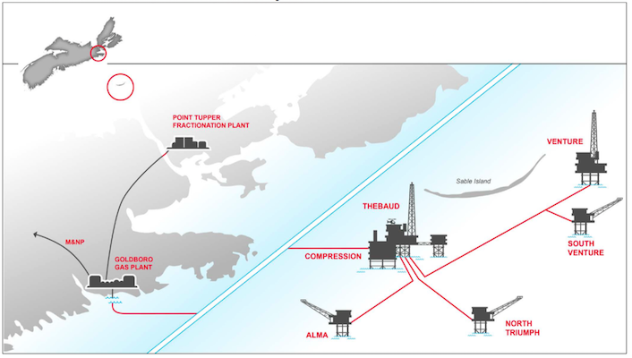 A graphic showing the locations of ExxonMobil's offshore facilities.