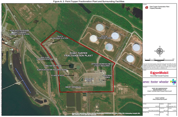 A graphic of ExxonMobil's operations in Point Tupper.