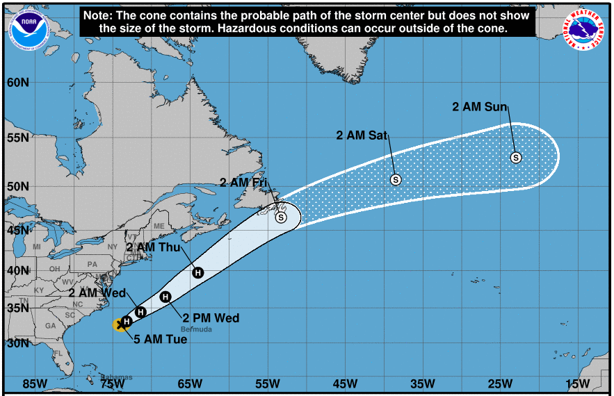 A National Hurricane Centre map showing the predicted track of Tropical Storm Chris, which is now shown to be travelling far away from Nova Scotia