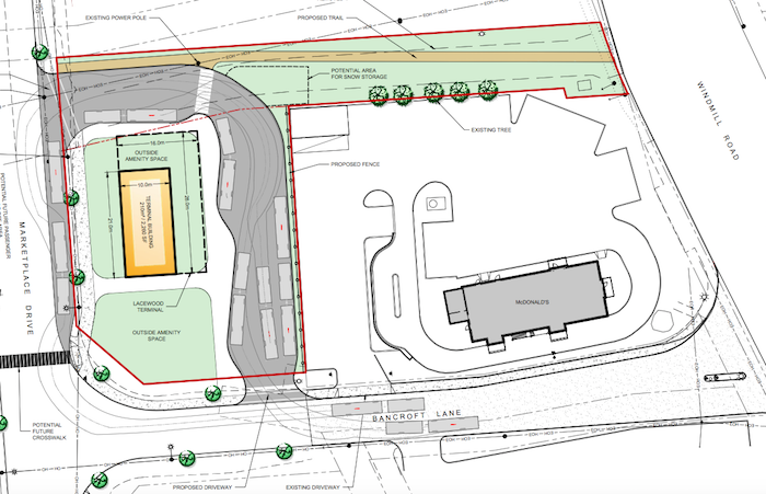 A graphic showing the proposed layout of the Wrights Cove Transit Terminal.