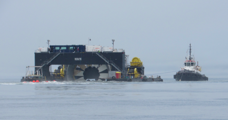 a photo of the turbine deployment