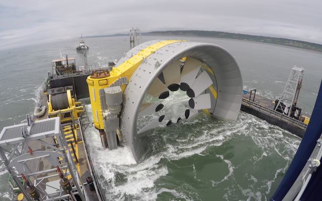 A photo of the tidal turbine.