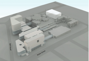 Model of proposed hospital complex.