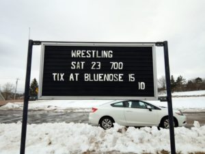Sign for a wrestling show in Stewiacke.