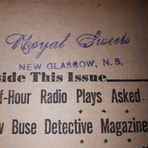 "Photo of part of the front page of Writers' Journal, with a stamp reading ""Royal Sweets, New Glasgow, NS"""