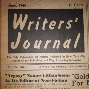 Front page of Writers' Journal from 1944