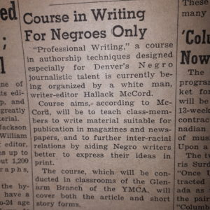 Story from Writers' Journal called Course in Writing for Negroes Only.