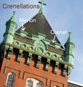 Photo of a building showing merlons and crenels.