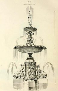 Illustration of a cast iron fountain design