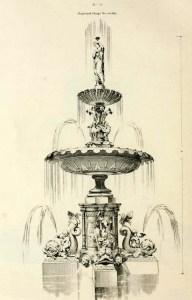 Illustration of a cast iron fountain design