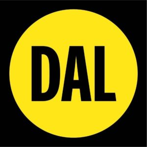 "The new Dal logo: A bright yellow circle with the words ""Dal"" in black letters in the middle."