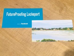 Future Proofing Lockeport flyer, with title on one side and beach photo on the other.