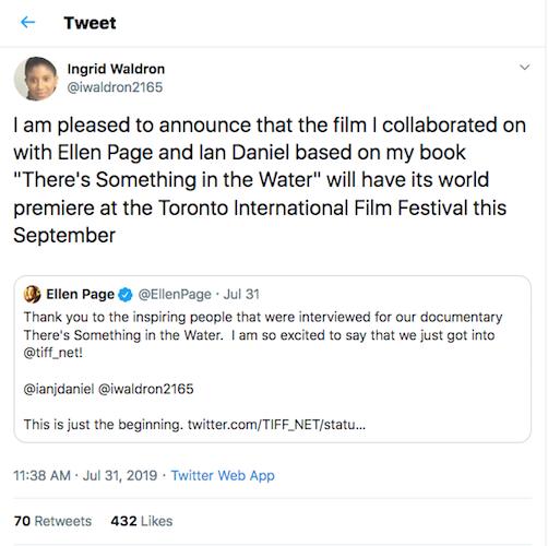 Tweets between Ellen Page and Ingrid Waldron