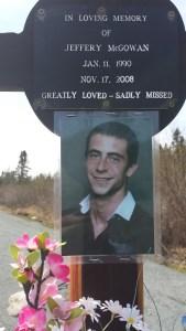 Roadside memorial to Jeffery McGowan