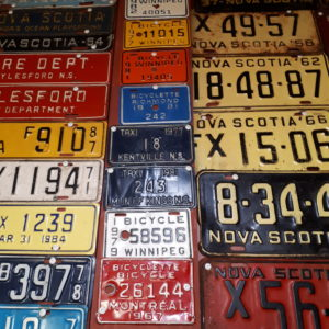 Wall display of bicycle licence plates