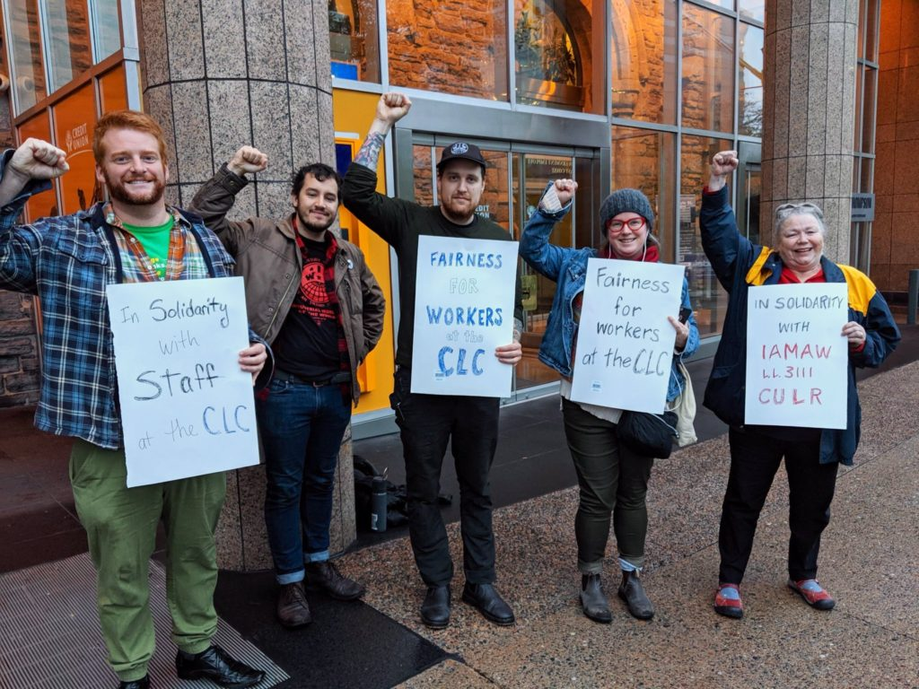 Solidarity picket outside the Halifax office of the Canadian Labour Congress