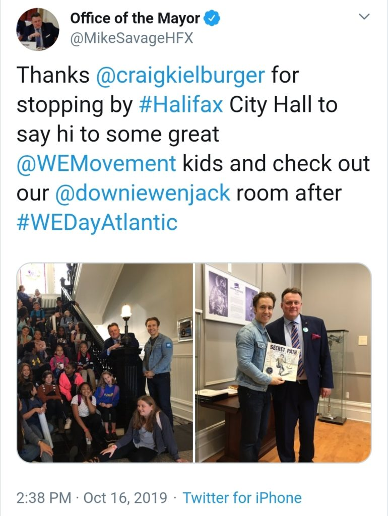 Mayor Savage tweets about We Day.