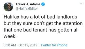 Tweet from Trevor Adams