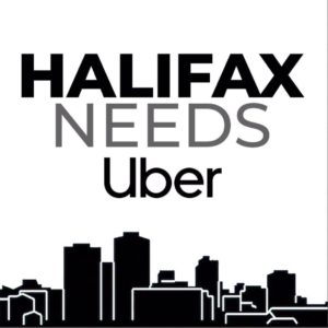 "Drawing of the Halifax Skyline with ""Halifax Needs Uber"""